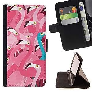 For Apple iPhone SE / iPhone 5 / iPhone 5S Case , Pink Flamingo trullo Diferente Mensaje- la tarjeta de Crédito Slots PU Funda de cuero Monedero caso cubierta de piel