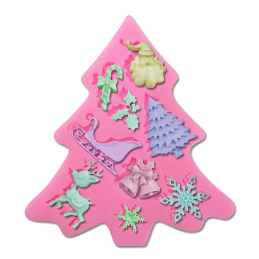 Snowflakes Bells Christmas Trees Santa Claus Decoration,Baking Tool Fondant Chocolate Mould Sleigh Crutches Xmas Theme Silicone Cake Molds Elk