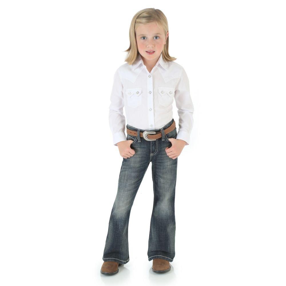 Wrangler Girls' Premium Patch Thick Stitch Bootcut Jeans Denim 10 SLM
