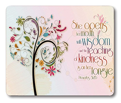 Smooffly Inspirational Christian Bible Verse Proberbs Quotes Mouse Pad, She Opens Her Mouth with Wisdom and The Teaching of Kindness is on Her Tongue Mouse pad 9.5X7.9Inch