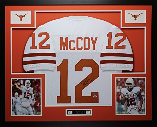 Colt McCoy Autographed White Longhorns Jersey - Beautifully Matted and Framed - Hand Signed By Colt McCoy and Certified Authentic by Auto PSA COA - Includes Certificate of Authenticity