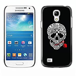 Be-Star Unique Pattern Hard Protective Back Case Cover Shell Skin For SAMSUNG Galaxy S4 mini (NOT FOR S4!!!) / i9190 / i9192 ( Skull Music Rose Rock Roll Guitar Black )