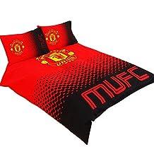 Manchester United FC Official Fade Reversible Football Crest Double Duvet Set (Full) (Red/Black)