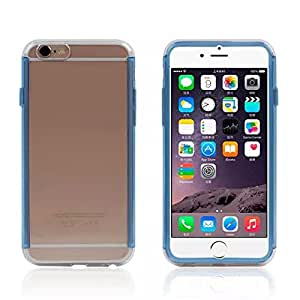 PIZU Hard Back Cover (PC) with Enhanced Rubberized Secure Grip (TPU) 2in1 Bumper Transparent Back Case Cover for Apple iPhone 6 4.7 Inch Blue