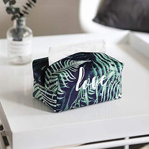 (XWareHouse Tissue Boxes - Green Plant Flock Cloth Tissue Box Case Home Decoration Nordic Style Fern Leaves/Banana/Palm Leaf Print Napkin Holder Box Cover 1 PCs)