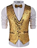 COOFANDY Men's Fashion Shiny Sequins Vests Halloween Christmas Slim Fit Stitching Vest(Gold Yellow, S)