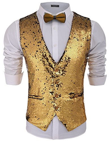 COOFANDY Mens Fashion Shiny Sequins Vests Halloween Christmas Slim Fit Stitching Vest(Gold Yellow, XXL)