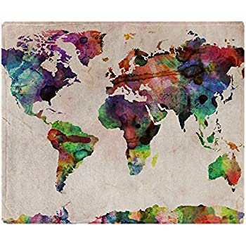 Amazoncom CafePress World Map Urban Watercolor X Soft - World map blanket