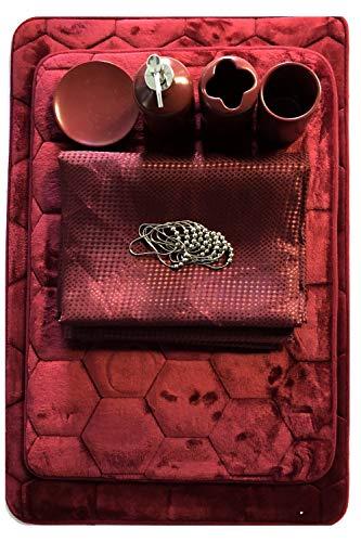 AHF/WPM 19 Piece Bathroom Accessories Set; Honeycomb Design Memory Foam Bath mats Matching Fabric Shower Curtain and Ceramic Accessories (Burgundy)