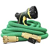 "NGreen Flexible Expandable Garden Hose - Easy Storage Kink Free Collapsible Water Hose 25/50/75/100 FT Strongest Triple Latex Core with 3/4"" Solid Brass Fittings Free and Spray Nozzle(25ft)"