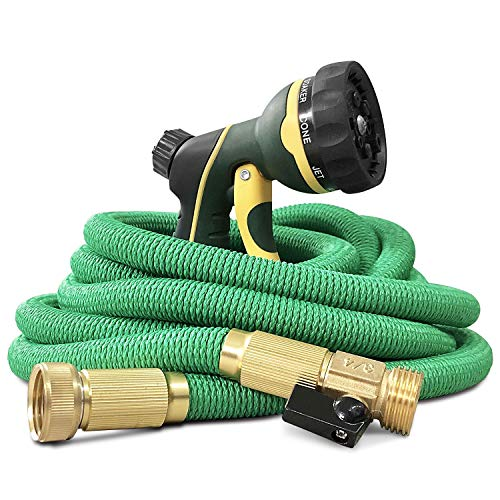 NGreen Expandable and Flexible Garden Hose - 25/50/75/100 Feet Strongest Triple Core Latex and Solid Brass Fittings Free Spray Nozzle 3/4 USA Standard Easy Storage Kink Free Water Hose (25 FT) (Water Hose 25ft Expandable)