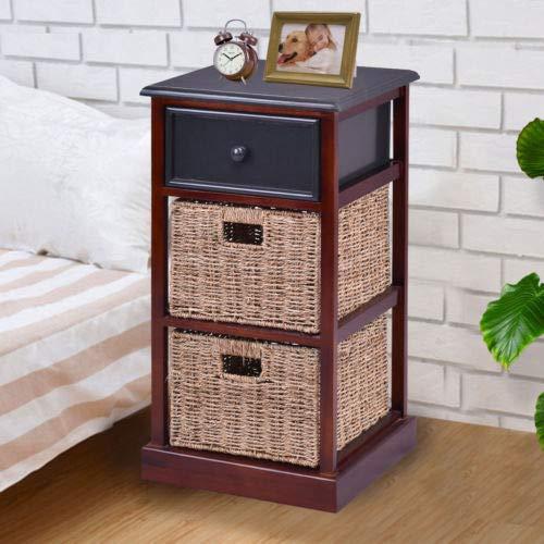 (2PCS 3 Tier Wood Nightstand Drawer 2 Basket Bedside End Table Organizer Brown)