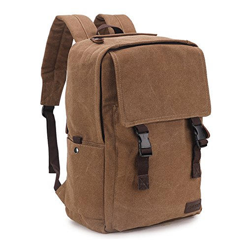 Price comparison product image Canvas Laptop Backpack for Men,Ravuo Water Resistant Unisex Vintage Casual Rucksack School College Bags Large Capacity Hiking Travel Daypacks Coffee