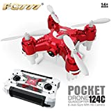 QWinOut FQ777-124C MINI Dual Mode With 2.0MP HD Camera With Switchable Controller RC Quadcopter One Press Home 360 Degrees Rollover RTF (Red)