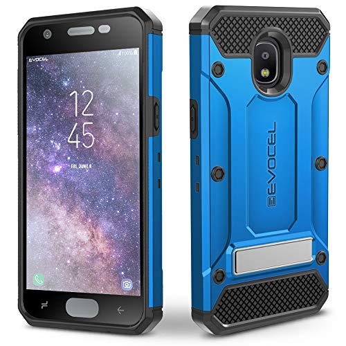 Samsung Galaxy J7 2018/ J7 Refine/ J7 V 2nd Gen/ J7 Star Case, Evocel Heavy Duty Protection with Glass Screen Protector, Holster, Kickstand for J7 Top/SM-J737P, Explorer Series Pro – Blue -