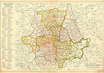 Map Of London And Surrounding Areas.Amazon Com London Postal Districts Post Code Areas N Nw W Sw Se E