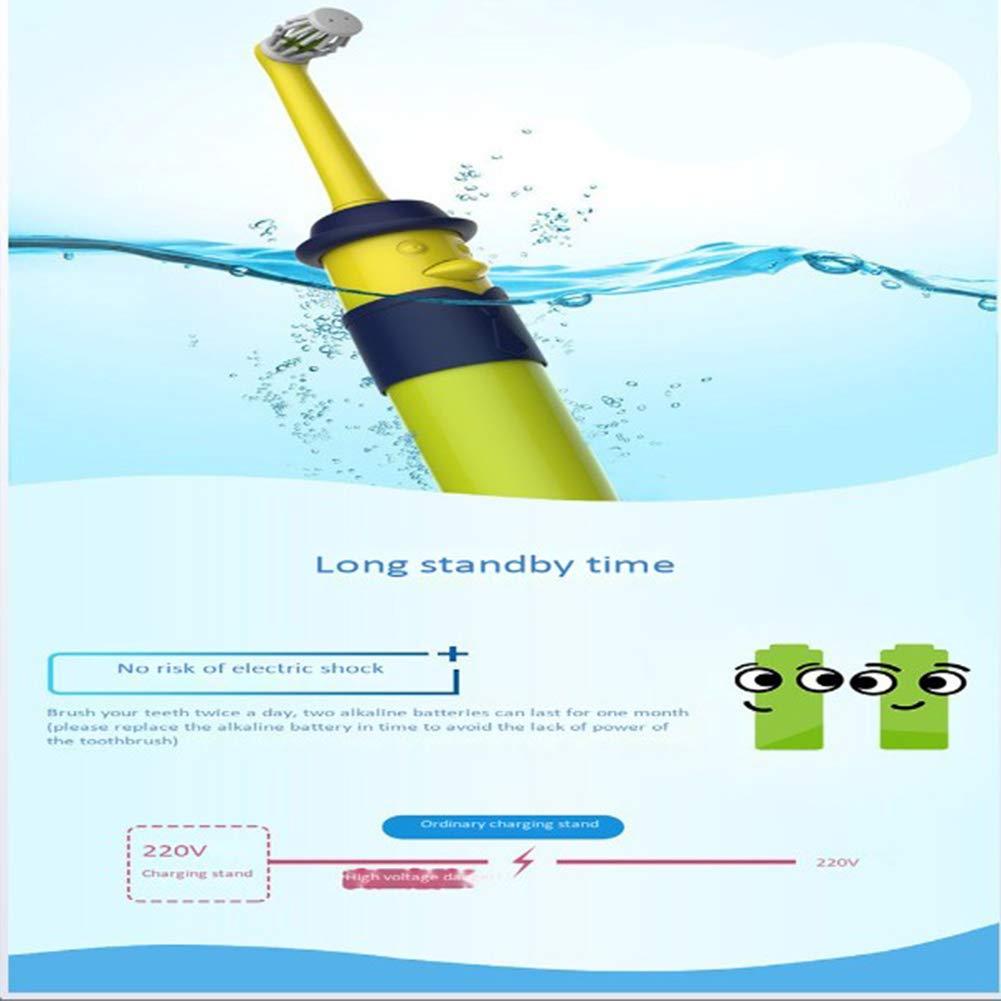 Maibeibi Newle niños Cepillo de Dientes eléctrico 1 Mango 4 Cabeza de Cepillo, Azul y Rosa USB Carga Impermeable para Ducha, Control de Placa, ...