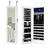 Kaluo Jewelry Cabinet Armoire Mirrored Jewelry Armoire Wall Mounted Cabinet with LED Light