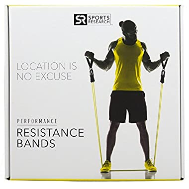 Sweet Sweat Premium Resistance Band Set | Portable Workout kit inlcudes FREE Sweet Sweat Sample, Door Anchor, Ankle Strap, Exercise Chart & and Carrying Bag