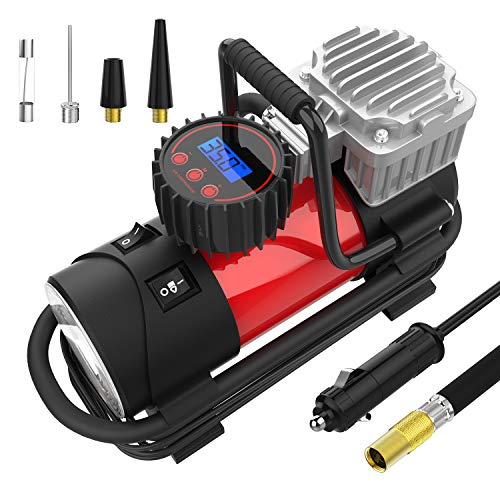 (Mbrain DC 12V Portable Air Compressor - Digital Tire Inflator Tire Pump for Car, 140W 150 PSI)