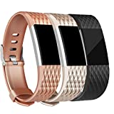 Amzpas Fitbit Charge 2 Bands, Small Large Adjustable Replacement Accessory Wristbands Bracelet for Women & Men (#Special:Bronze+Champagne+Black, Small)