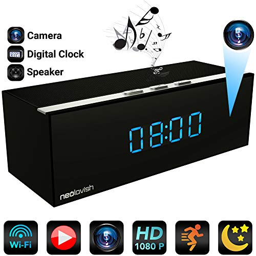 Clock Camera - Best HD Hidden Camera WiFi- Spy Hidden Camera - 1080p Video Recorder - Small Wireless Home Security Camera - IP Nanny Cam - 140° Cameras Angle - Night Vision - Motion Detection Cams ()