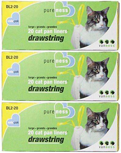 Pureness Large Drawstring Valu-Pak Cat Pan Liners, 20 Count (Pack of - Van Liners Pan Ness Cat