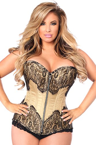 Daisy corsets Women's Top Drawer Brocade Steel Boned W/Black Eyelash Lace, Tan, Large ()