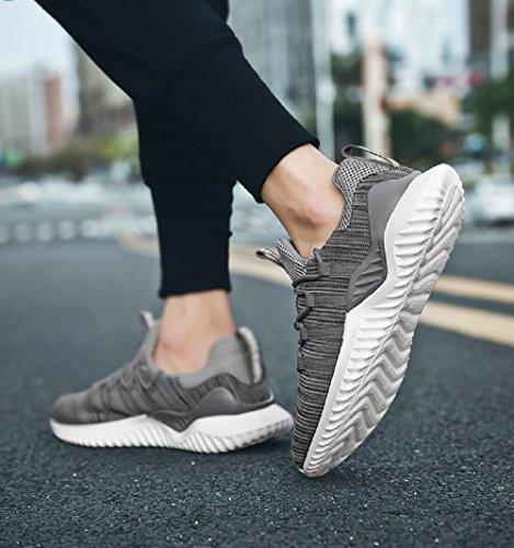 NEOKER Mens Mesh Running Trainers Trail Breathable Lightweight Fitness Sneakers Sport Outdoor Run Shoes Black Red Grey 6-11 UK Grey NWCbeRKkU