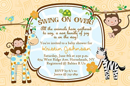 Personalized Baby Shower Invitations Monkey Jungle Cards Custom Printed!