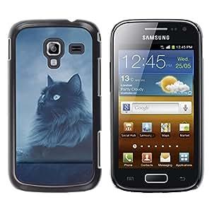Be Good Phone Accessory // Dura Cáscara cubierta Protectora Caso Carcasa Funda de Protección para Samsung Galaxy Ace 2 I8160 Ace II X S7560M // Cat Longhair Grey Black Blue Eyes Nigh