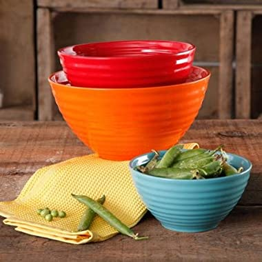 The Pioneer Woman 3 pc Ceramic Mixing Bowl Set (Flea Market (Orange/Red/Teal))
