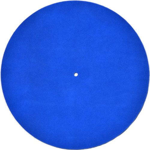 Genuine Leather Turntable Platter Mat - Prussian Blue Suede (Acrylic Turntable Platter compare prices)