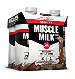 Muscle Milk Genuine Protein Shake, Chocolate, 20g Protein, 11 FL OZ, (Pack of 4)