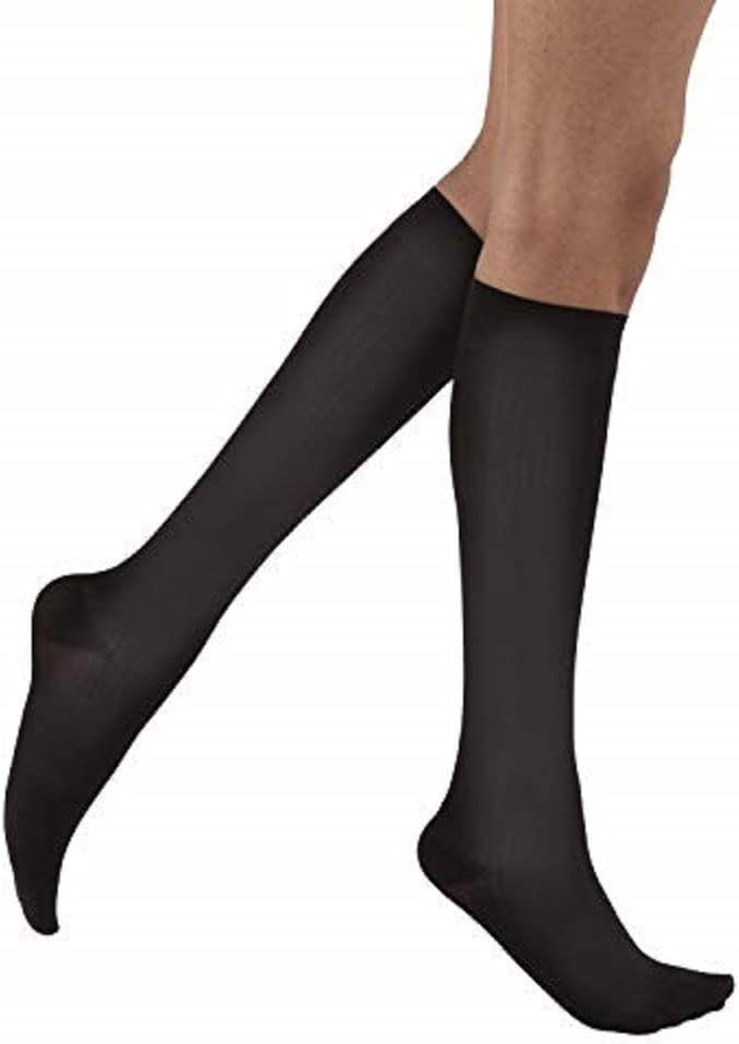 Compression Class- 8-26 JOBST soSoft Knee High Closed Toe Ribbed Brocade Compression Stockings High Quality Extra Soft Legware for Tired and Heavy Legs Breathable