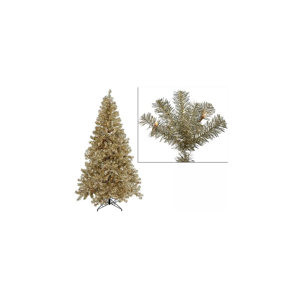 7 Pre Lit Champagne Artificial Tinsel Christmas Tree   Clear Lights