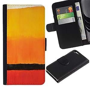 Planetar® Modelo colorido cuero carpeta tirón caso cubierta piel Holster Funda protección Para Apple iPhone 5 / iPhone 5S ( Africa Horizon Watercolor Orange )