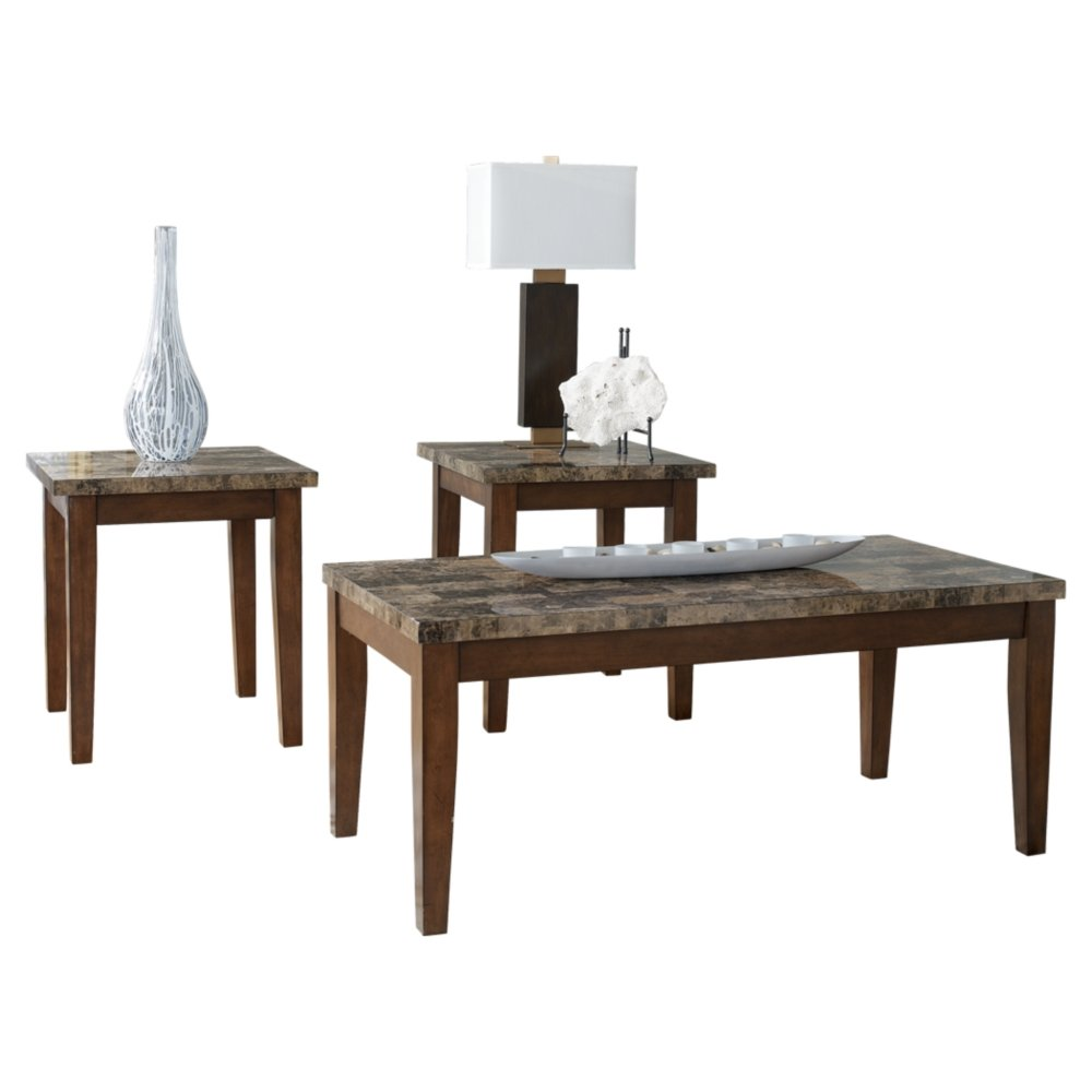 Ashley Furniture Signature Design - Theo Console Sofa Table - 2 Open Shelves - Faux Marble Top - Warm Brown T158-4