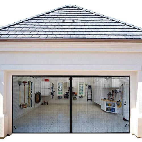 Magnetic Garage Door Screens 16x7 ft Double Door Mesh with Hook and Loop Tape Durable Fiberglass Garage Screen Cover Kit Garage Door Curtain (Garage Door Enclosure)