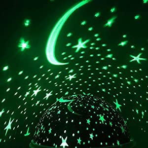 WEAQW Kids Star Night Light, Starry Night Light Rotating Moon Stars Projector, Star Light Rotating Projector, USB Cable/Batteries Powered for Bedroom ,Best for Children Baby Bedroom