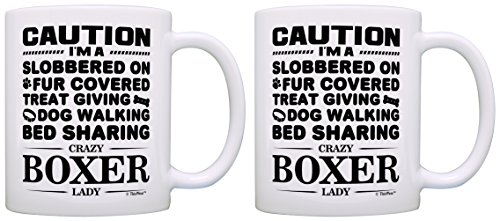 Dog Gifts for Dog Lovers Crazy Boxer Lady Rescue Gift 2 Pack Gift Coffee Mugs Tea Cups White