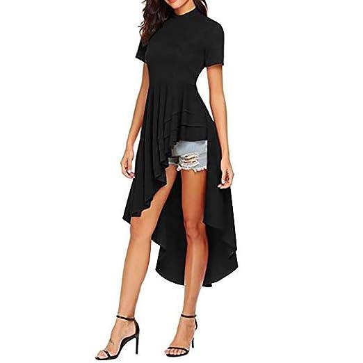 4011b84988 Usstore Women Tuxedo Dress Turtleneck Summer Creative Sexy Fashion Slim  Irregular Hem Ruffle Holiday Prom Dresses