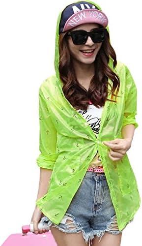 ラッシュガード レディース パーカー フード付き 錨柄5色 韓国風 薄手 XLサイズ 長袖 UVカット UPF50 + ひらひら かわいい 女の子 ガールズ