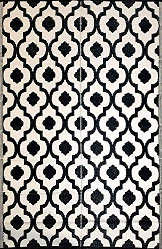 Garden and Outdoor BalajeesUSA Outdoor Patio Rugs Clearance 5'x7′ (152 cm x 214 cm) Black n White 507 outdoor rugs