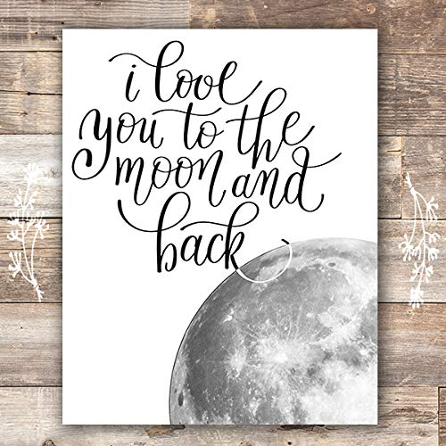 I Love You to the Moon and Back Wall Art Print - Unframed - 5x5  Nursery  Decor