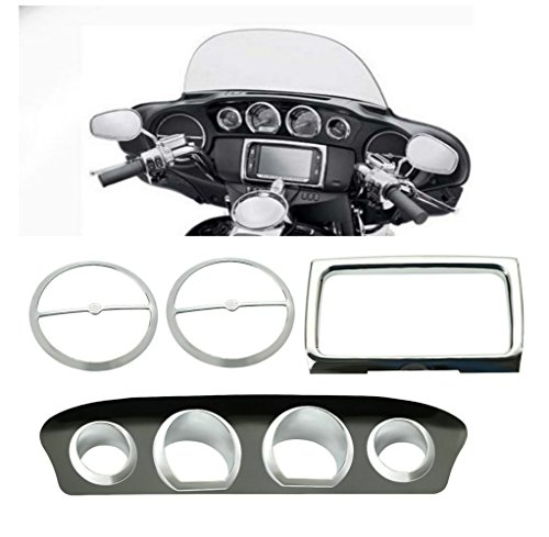 Seamong 8pcs New Gauge Bezel Trim Plate Stereo ABS for Harley Touring Electra Street Glide 2014 2015 Chrome: