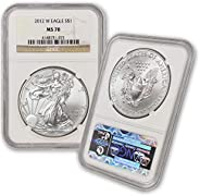 2012 W 1 oz American Silver Eagle Burnished MS-70 by CoinFolio $1 MS70 NGC