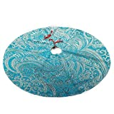 Turquoise Paisley Christmas Tree Skirt with Santa, Xmas Tree Decorations Skirts Holiday Ornaments with Double Edges