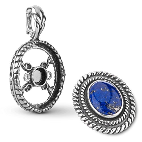 Sterling Silver Lapis Interchangeable Pendant Enhancer by American West (Image #2)