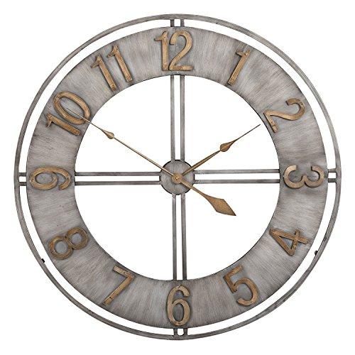 Studio Designs Home Industrial Loft 30 Inches Metal Wall Clock, Steel/Bronze